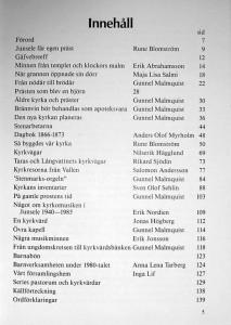 Junsele kyrka 100 år. Innehållsförteckning.
