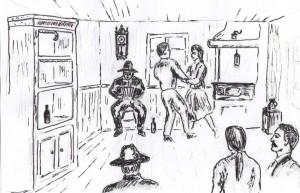 Dans i torparkök